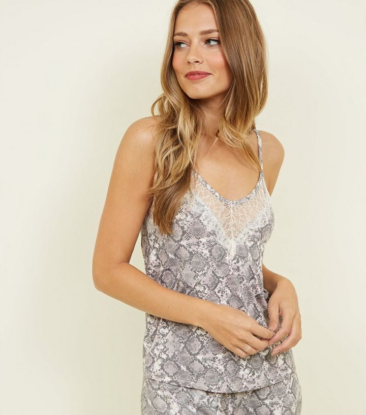 608ea2339637 Pink Snake Print Lace Trim Pyjama Cami | New Look