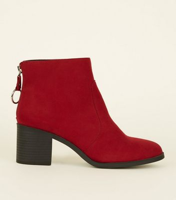 Girls Red Suedette Ring Zip Ankle Boots