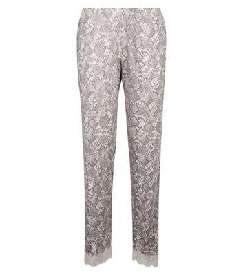 e23a9e26546b Pink Snake Print Lace Trim Pyjama Bottoms | New Look