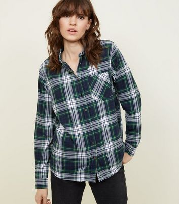 Green Check Print Long Sleeve Shirt