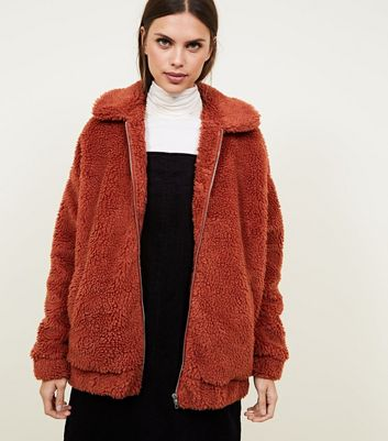 Rust Faux Teddy Fur Bomber Jacket