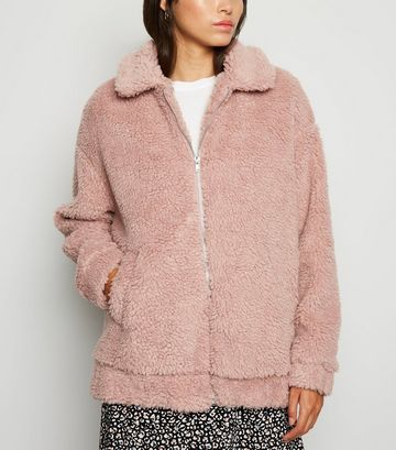 Pink Faux Teddy Fur Bomber Jacket