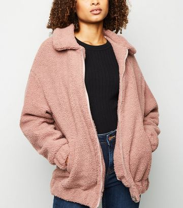 Pale Pink Faux Teddy Fur Bomber Jacket
