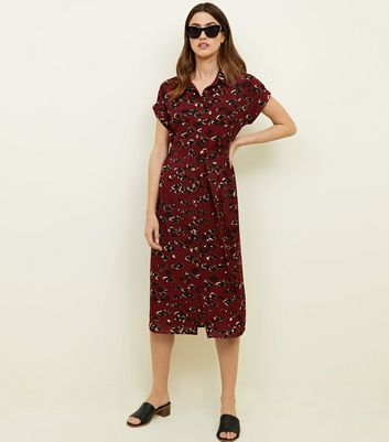 Red Leopard Print Midi Shirt Dress