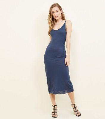 Brave Soul Blue Ribbed Midi Dress New Look