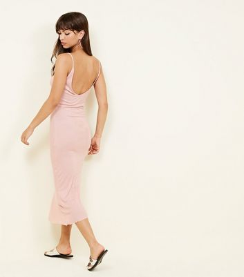 Brave Soul Pale Pink Ribbed Midi Dress New Look