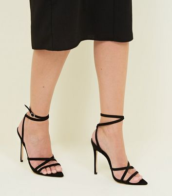 Black Pointed Open Toe Ankle Tie