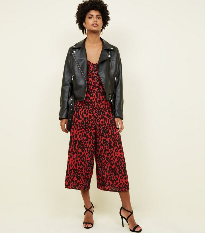 645e5c46513 Red Leopard Print Button Front Culotte Jumpsuit