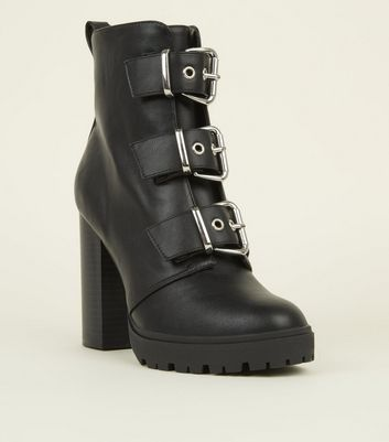 Black Buckle Front Chunky Heeled Boots