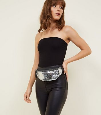 Silver Sequin Chunky Zip Front Bum Bag
