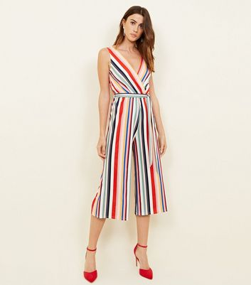 Rainbow Stripe Culotte Wrap Jumpsuit New Look