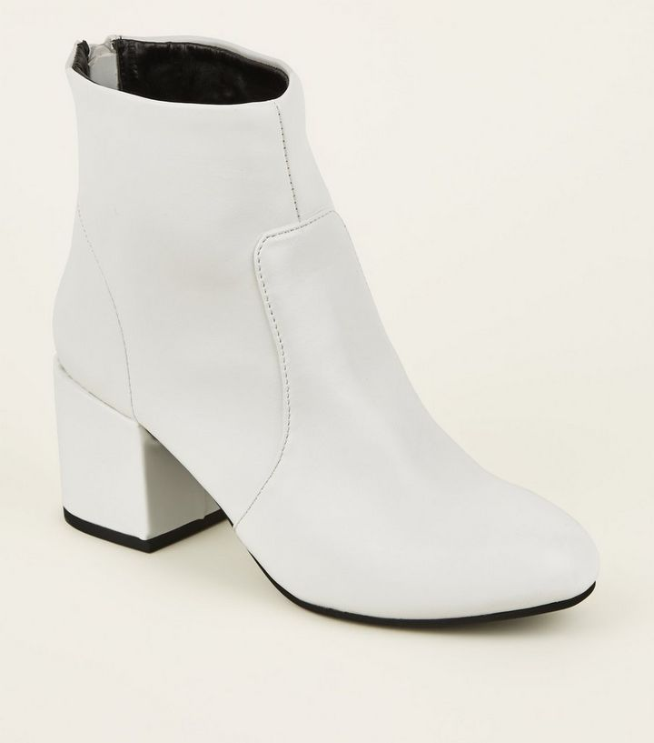 e01961bfff6 White Block Heel Ankle Boots Add to Saved Items Remove from Saved Items