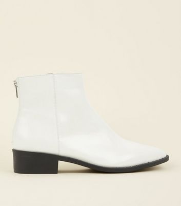 White Patent Stud Trim Pointed Ankle Boots