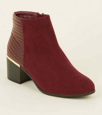 Wide Fit Dark Red Comfort Flex Quilted Panel Boots