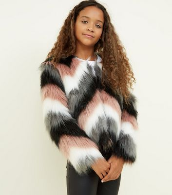 Girls Black Chevron Faux Fur Jacket