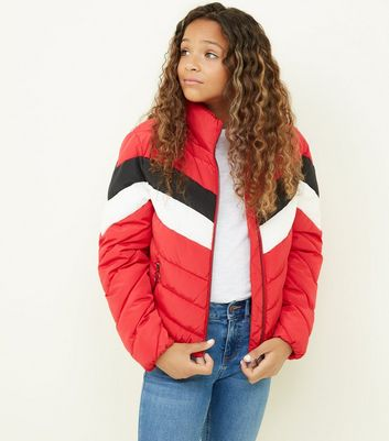 Girls Red Colour Block Puffer Jacket