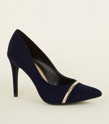 Navy Suedette Metal Bar Pointed Courts