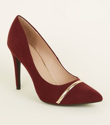 Dark Red Suedette Metal Bar Pointed Courts