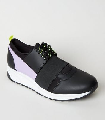 Black Colour Block Lace-Up Trainers