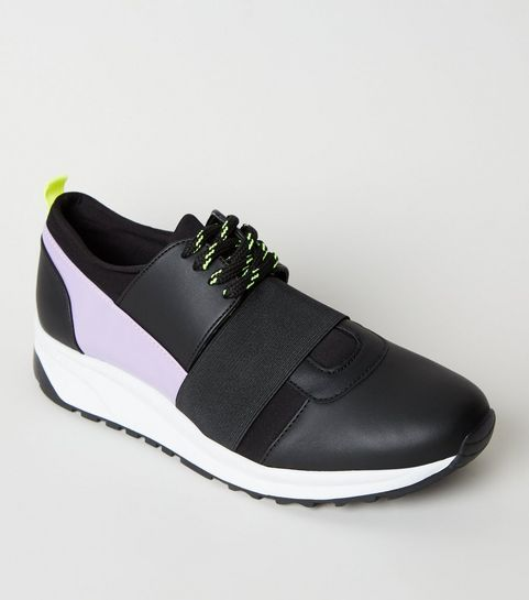... Black Colour Block Lace-Up Trainers ... c75cadb69d