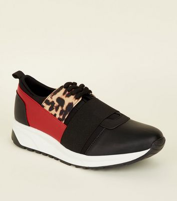 Black Colour Block Lace Up Trainers