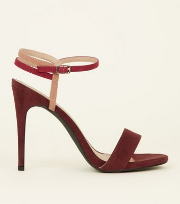 Pink and Burgundy Suedette Strap Stilettos