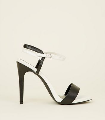 Monochrome Leather-Look Stiletto Heel Sandals