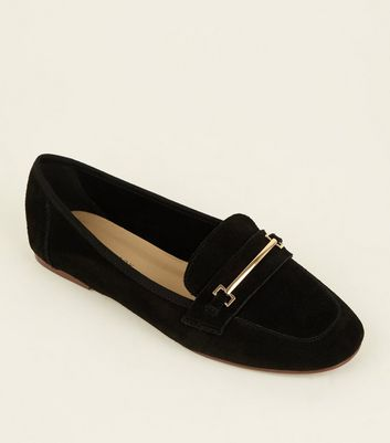 Black Suede Front Bar Loafers