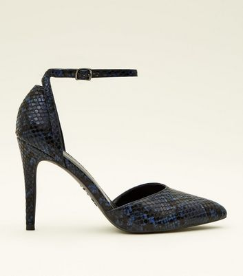 Blue Faux Snake Two Part Pointed Heels