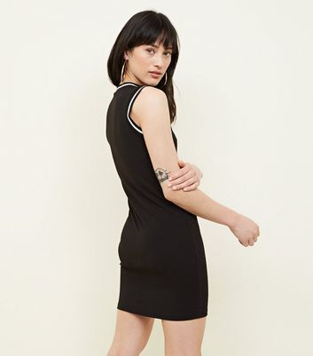 Cameo Rose Black Half Zip Bodycon Dress New Look