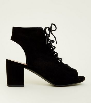 Girls Black Suedette  Lace Up Peep Toe Boots