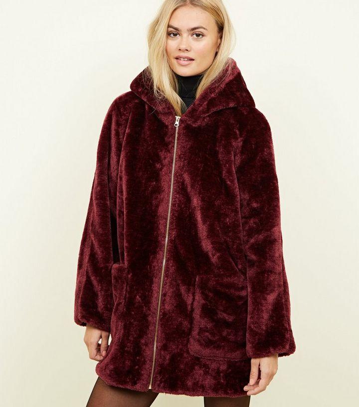 cbc38c43556 Blue Vanilla Burgundy Faux Fur Zip-Up Coat | New Look