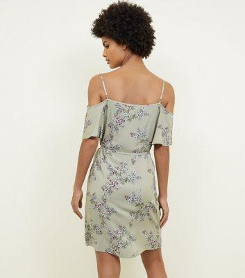 Apricot Green Floral Cold Shoulder Mini Dress New Look