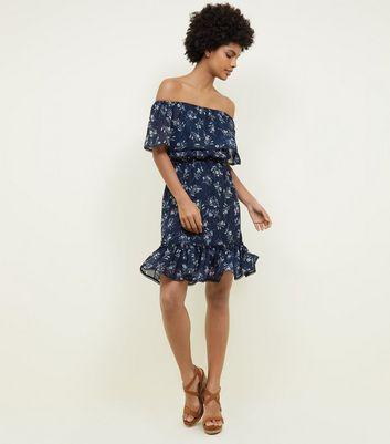 Apricot Navy Floral Bardot Ruffle Dress New Look  8632d4dc2