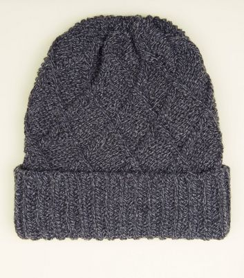 Grey Cable Knit Beanie