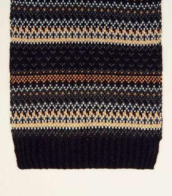 Yellow and Grey Fairisle Scarf