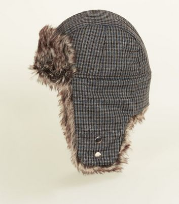 Brown Check Trapper Hat