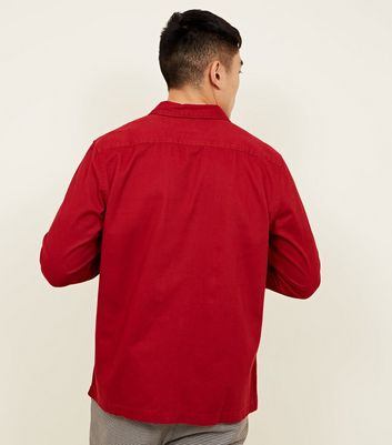 shop for Men's Red Pocket Front Snap Through Shacket New Look at Shopo