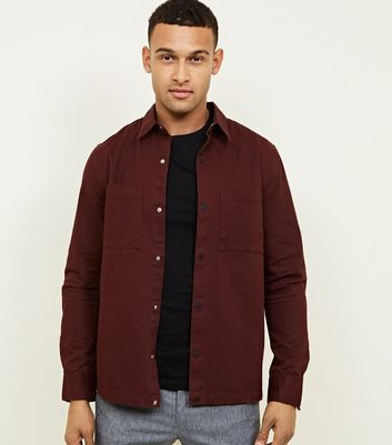 Burgundy Pocket Front Snap Through Shacket