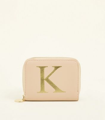 Nude K Initial Zip Around Card Holder