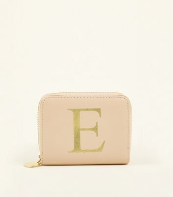 Nude E Initial Zip Around Card Holder