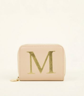 Nude M Initial Zip Around Card Holder