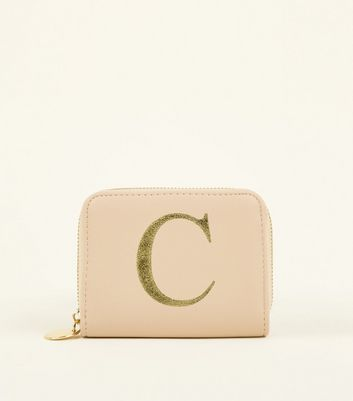 Nude C Initial Zip Around Card Holder