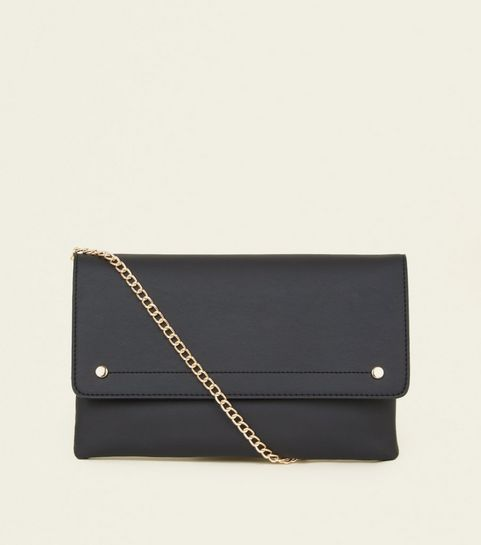Black Leather Look Foldover Cross Body Bag