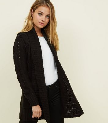 Petite Black Cable Knit Cardigan