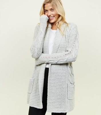 Tall Grey Cable Knit Pointelle Cardigan