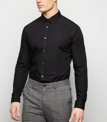 Black Long Sleeve Poplin Shirt