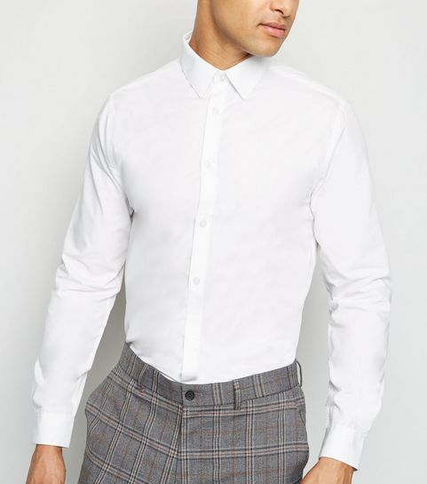83d082ba989 ... White Collared Long Sleeve Poplin Shirt ...