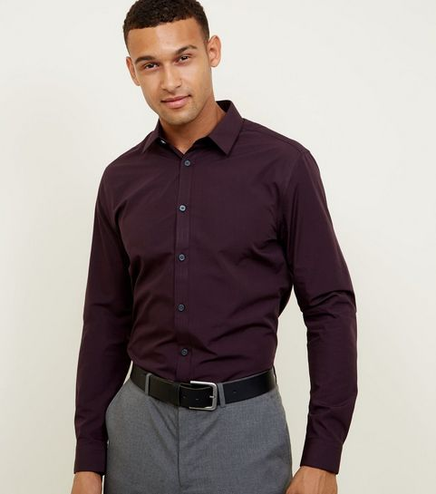 84658b44183 ... Burgundy Long Sleeve Poplin Shirt ...