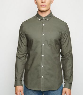 Olive Cotton Long Sleeve Oxford Shirt
